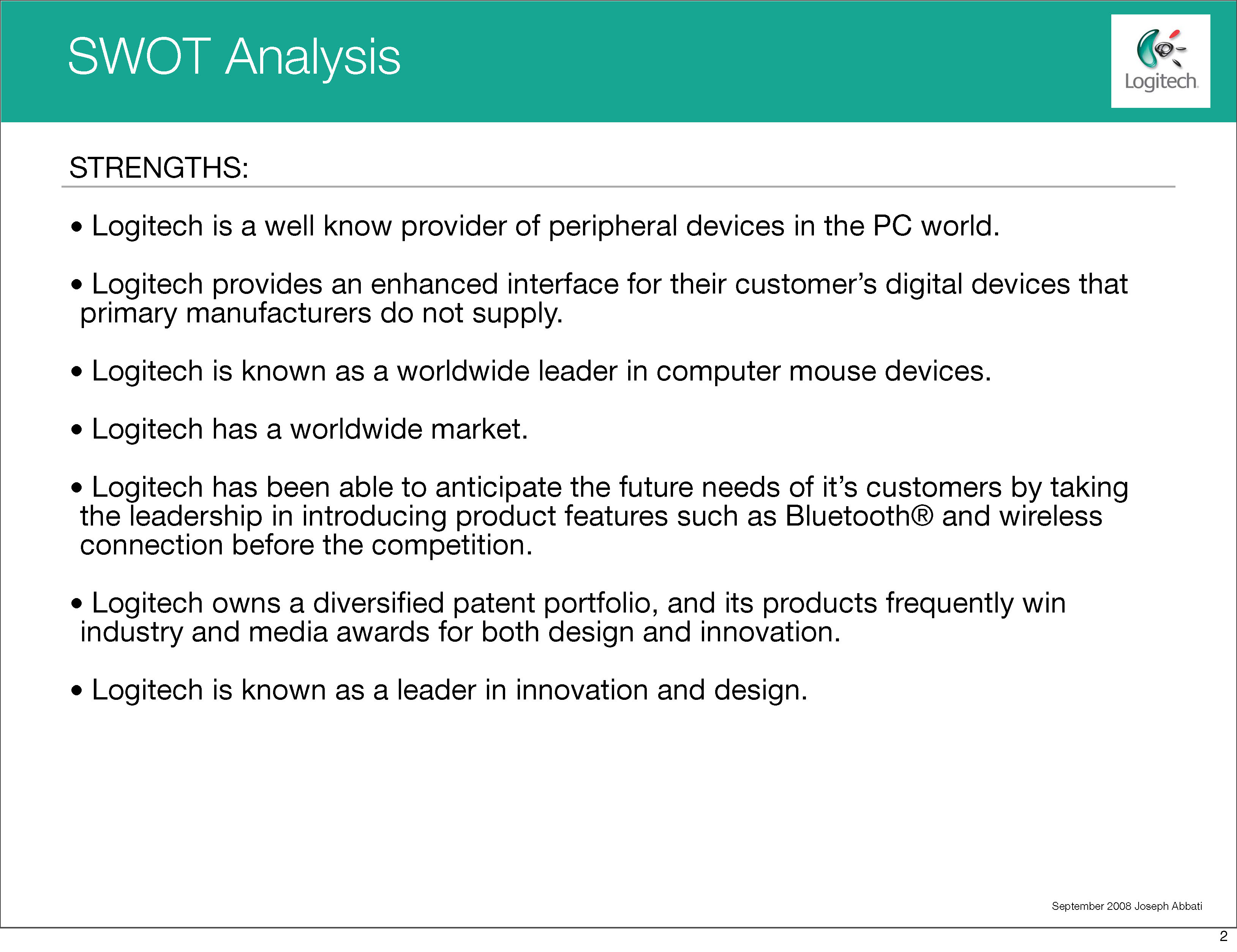 logitech swot analysis